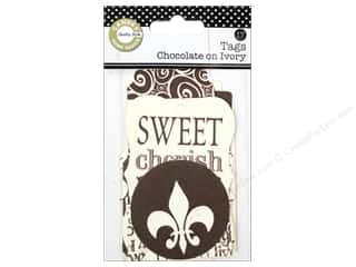 Black: Canvas Corp Printed Tags Chocolate On Ivory