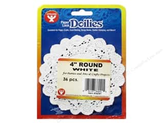 Paper Doilies: Hygloss Paper Lace Doilies Round 4 in. White 36 pc.