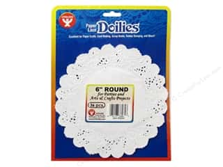 Paper Doilies: Hygloss Paper Lace Doilies Round 6 in. White 36 pc.
