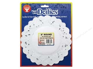 Paper Doilies: Hygloss Paper Lace Doilies Round 8 in. White 36 pc.