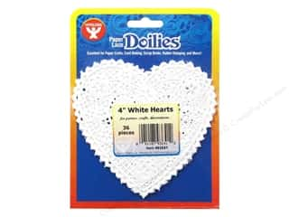 Valentine's Day Basic Components: Hygloss Paper Lace Doilies Heart 4 in. White 36 pc.