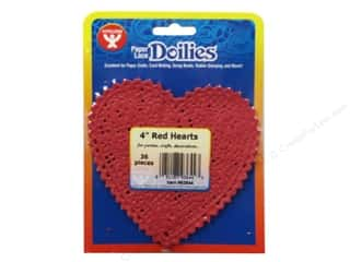 Doily: Hygloss Paper Lace Doilies Heart 4 in. Red 36 pc.