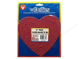 Paper Doilies: Hygloss Paper Lace Doilies Heart 6 in. Red 36 pc.
