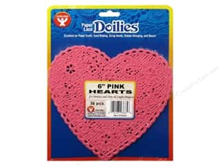 Valentine's Day Basic Components: Hygloss Paper Lace Doilies Heart 6 in. Pink 36 pc.