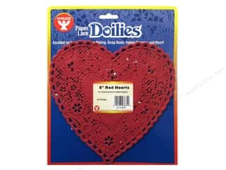 Paper Doilies: Hygloss Paper Lace Doilies Heart 8 in. Red 36 pc.