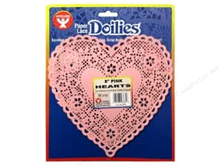 Valentine's Day Gifts Basic Components: Hygloss Paper Lace Doilies Heart 8 in. Pink 36 pc.