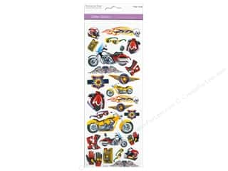 Scrapbooking & Paper Crafts Burgundy: Multicraft Sticker Paper Craft Glitter Motorcycle Mania