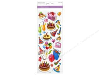 Scrapbooking & Paper Crafts Burgundy: Multicraft Sticker Paper Craft Glitter Happy Birthday