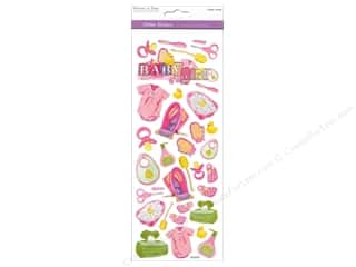 Scrapbooking & Paper Crafts Burgundy: Multicraft Sticker Paper Craft Glitter Baby Girl