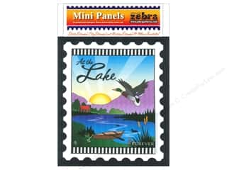 Bags $6 - $7: Zebra Patterns Printed Fabric Panel 6 x 7 in. At The Lake Stamp