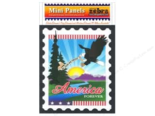 Zebra Patterns Printed Panel 6 x 7 in. America Stamp