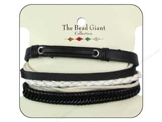 Bracelets inches: The Bead Giant Collection Leather Bracelet Assorted Black