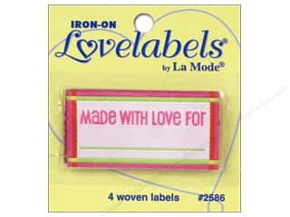 Love & Romance Blumenthal Iron-On Lovelabels: Blumenthal Iron-On Lovelabels 4 pc. Made With Love For Pink