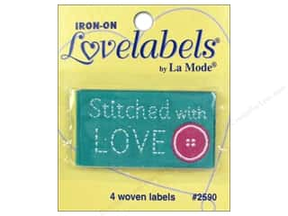Love & Romance: Blumenthal Iron-On Lovelabels 4 pc. Stitched With Love