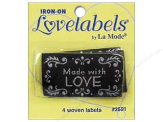 Love & Romance Blumenthal Iron-On Lovelabels: Blumenthal Iron-On Lovelabels 4 pc. Made With Love Black