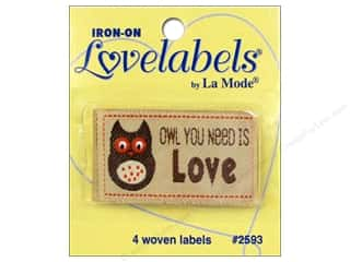 Blumenthal Brown: Blumenthal Iron-On Lovelabels 4 pc. Owl You Need Is Love