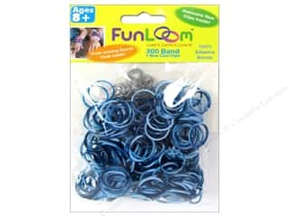Looms Clearance Crafts: FunLoom Silicone Bands Tie Dye Navy & Light Blue 300pc