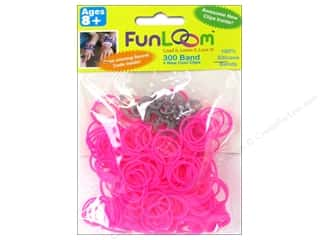 Elastic Clearance Crafts: FunLoom Silicone Bands Neon Pink 300pc