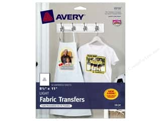 Fabric 1 Sheet: Avery Fabric Transfers for Inkjet Printers 8 1/2 x 11 in. Light 18 pc.