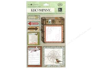 Compass Clearance Crafts: K&Company Stickers Tim Coffey Travel Adhesive Journal Tags