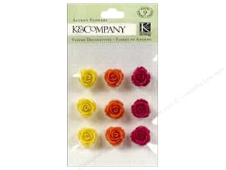 Stickers Lily: K&Company Stickers Lily Ashbury Raspberry Lemonade Accent Flowers