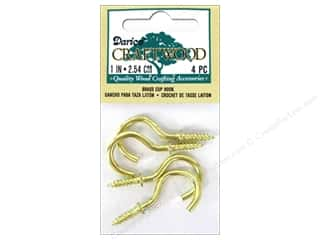Hardware Darice Suction Cup: Darice Cup Hook 1 in. Brass 4 pc.
