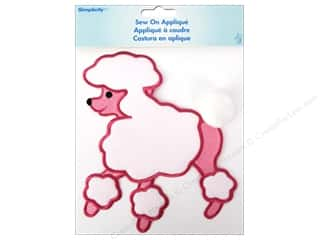 Wrights Embroidered Appliques: Simplicity Appliques Sew On Large Poodle Pink/White
