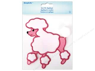 Simplicity Trim: Simplicity Appliques Sew On Small Poodle Pink/White
