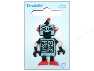 Simplicity Trim Black: Simplicity Iron On Applique Blue Robot