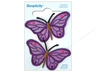 Wrights Iron-On Appliques: Simplicity Iron On Applique Purple Butterfly