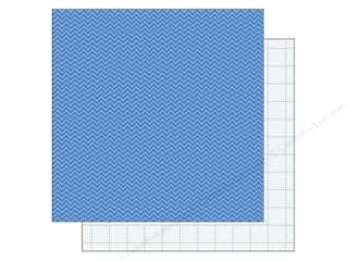 Doodlebug Paper 12 x 12 in.  Blue Jean Chevron (25 piece)