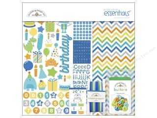 shape brads: Doodlebug Kit Essentials Hip Hip Hooray