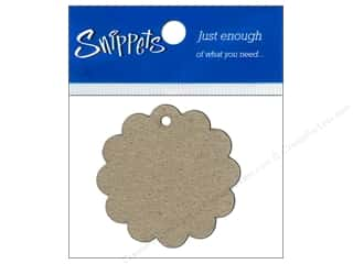 chipboard tags: Paper Accents Chipboard Shape Scalloped Circle Tag 4 pc. Kraft (3 pieces)