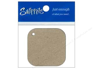 Punches New: Paper Accents Chipboard Shape Square Tag with Round Corners 4 pc. Kraft