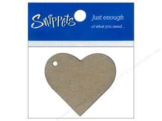 Paper Accents Hearts: Paper Accents Chipboard Shape Heart Tag 4 pc. Kraft (3 pieces)