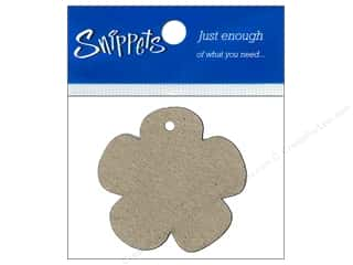 Ribbon Work New: Paper Accents Chipboard Shape Flower Tag 4 pc. Kraft