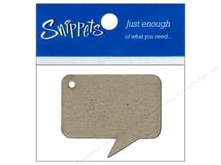 Ribbon Work New: Paper Accents Chipboard Shape Caption Tag 4 pc. Kraft