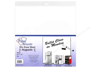 Erasers Dry Erase Boards: Paper Accents Adhesive Vinyl 12 x 12 in. Magnetic Dry Erase White 1 pc.