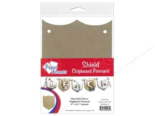 Chipboard Paper Accents Chipboard Pennants: Paper Accents Chipboard Pennants 5 x 6 1/2 in. Shield 9pc Kraft