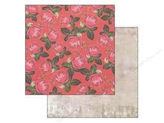 "Cabbage Rose Patterns: Marion Smith Paper 12""x 12"" Motley Scarlet (20 pieces)"
