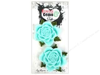 Plastics Flowers: Marion Smith Embellishment Junque & Gems Resin Rose Blue