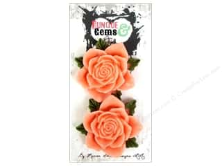 Craft Embellishments Think Pink: Marion Smith Embellishment Junque & Gems Resin Rose Peach