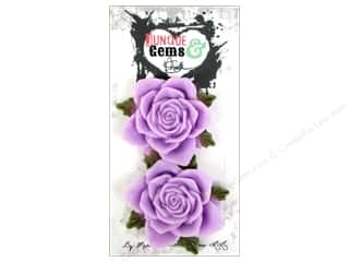 Plastics Flowers: Marion Smith Embellishment Junque & Gems Resin Rose Lavender
