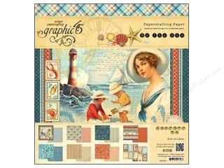 "Beach & Nautical Sale: Graphic 45 Paper Pad 12""x 12"" By The Sea"