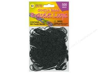 Weekly Specials Kid's Crafts: Pepperell Stretch Band Bracelet Loops Black 500pc
