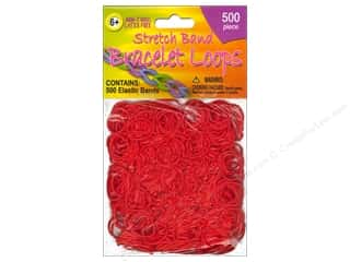 Weekly Specials Kid's Crafts: Pepperell Stretch Band Bracelet Loops Red 500pc