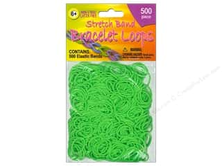 Elastic Children: Pepperell Stretch Band Bracelet Loops Green 500pc