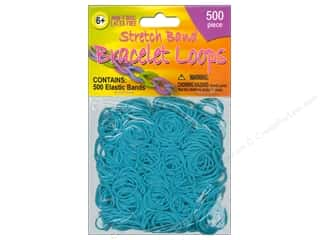 Weekly Specials Kid's Crafts: Pepperell Stretch Band Bracelet Loops Turquoise 500pc