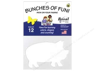 Interfacings Gifts: Bosal Craf-Tex Shapes 4 1/4 x 2 1/2 in. Pig 12 pc.