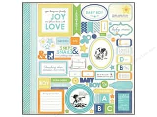 Carta Bella New: Carta Bella Sticker 12 x 12 in. Baby Mine Boy Element (15 pieces)